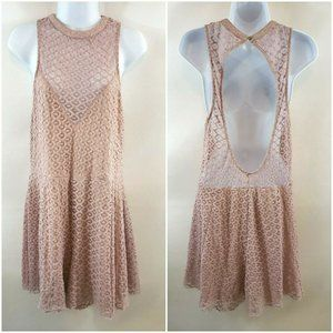 Express Dusty Rose Lace Romper